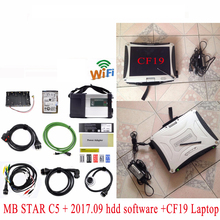 2017 Super MB Star C5 with laptop CF-19 + Newest V2017.09 HDD Software for mb star c5 SD Connect Support Wireless Connection DHL(China)