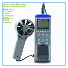 Anemometer Air Flow Datalogger with Built-in Thermal Printer Wind speed Air Temp. Air RH Air Volume WB Temp. 5 in 1(China)