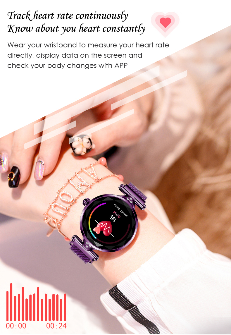 H1 Women Fashion Smartwatch Wearable Device Bluetooth Pedometer Heart Rate Monitor Smart Watch For AndroidIOS Smart Bracelet (8)