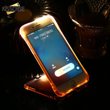 KISSCASE LED Light Call Case For iPhone 6 6S 7 Plus 5 5s SE Cover For iPhone 6 s 7 Plus 5S Shockproof Silicon Phone Cases Coques