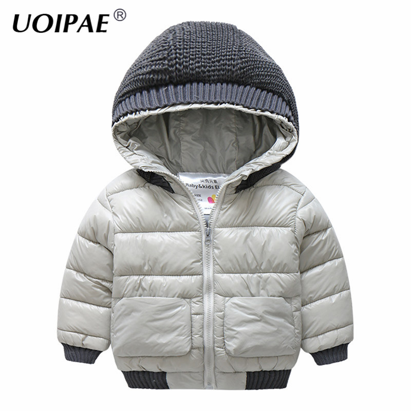 UOIPAE Kids Boys Coats 2018 Casual Hooded Solid Warm Winter Jacket Boys Plus Velvet Thick Long Sleeve Children Clothing B0893<br>