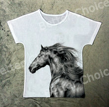 Track Ship+New Vintage Retro T-shirt Top Tee Strong Pen Drawing Wild Horse 1314