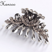 Hansoo 5.5cm hair accessory women Silver color hair claws Crystal women,s hairpin girls hair clips BiBe Hairbands fashion bands(China)