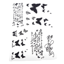 1 Sheet Vintage Black Waterproof Water Transfer Tattoo Sticker Butterfly Letter Design Temporary Tattoo(China)