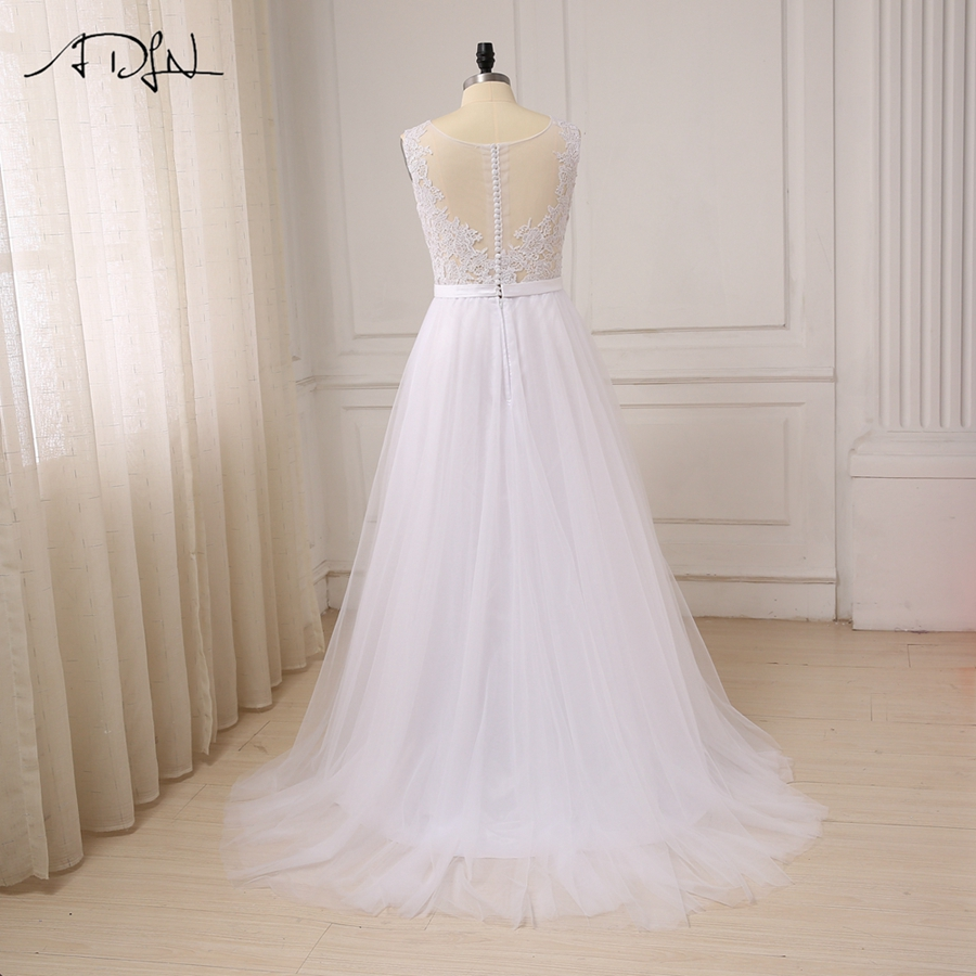 ADLN Plus Size White Wedding Dresses New Sexy Scoop Tulle Appliques Beach Boho Bride Dress Long Ivory Wedding Gowns Custom 4