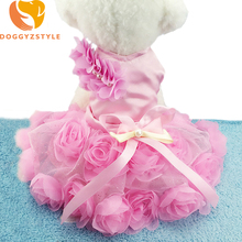 Princess Dog Dress Summer Pet Clothes Goods Puppy Cat Wedding Skirt Tutu Pink Luxury Rose Dresses For Small Dog DOGGYZSTYLE(China)