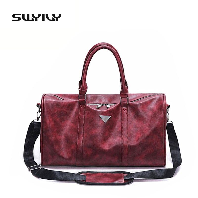 2017 New PU Waterproof Women Gym Bag Big Capacity Traveling Sports Bag For Men Black Red Shoulder Luggage Bag Big Size
