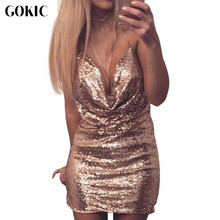 GOKIC Deep v neck sequin Dress Women backless sexy split chain short dress Ladies mini party night club Silver dresses 2017