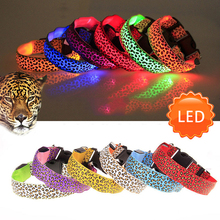 2017 Fashion Leopard LED Dog Collar Flashing In Dark Nylon 3 Mode Lighting Safety LED Pet Collar 2.5cm Wide Luminous Pet Product