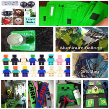 Minecraft Green Pixels Party Supplies Paper bag Aluminum Balloon Cup Wristband  Sunglasses Toy Festive Birthday Children's Gift