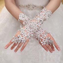 Beads short white fingerless gloves fashion flower girl bridesmaid gloves dancing party women glove free shipping(China)
