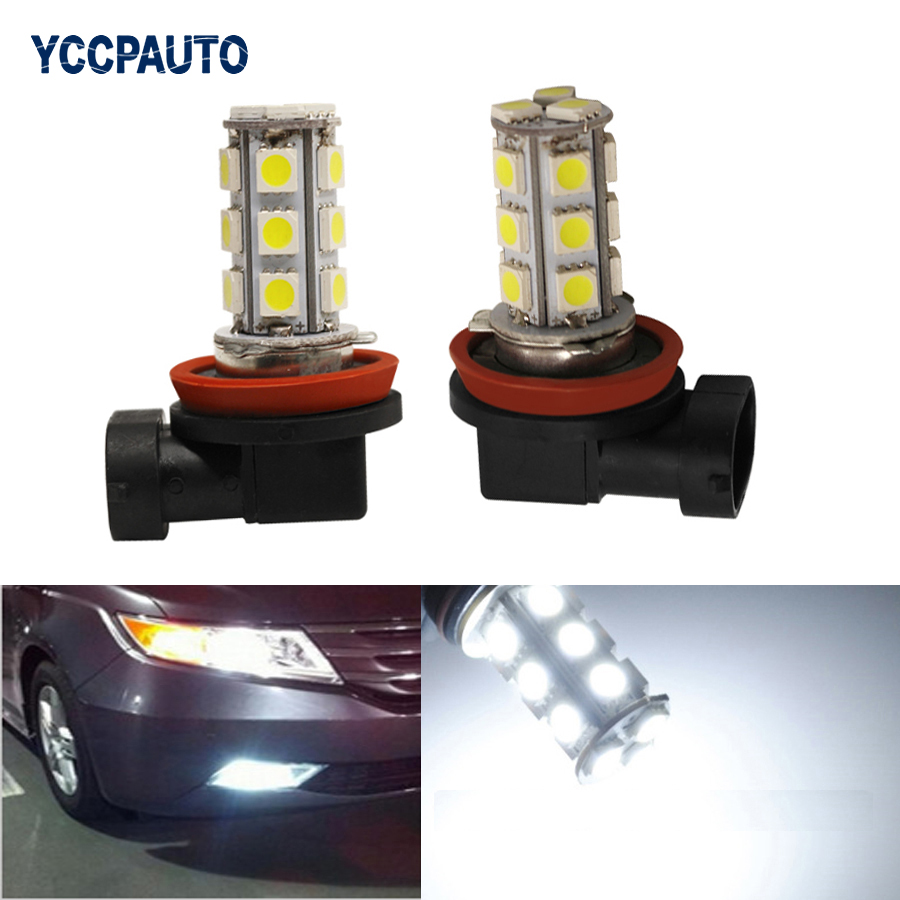 Car Fog Lights H11 H8 LED Lights White Auto Daytime Running DRL 5050 SMD Lamp Xenon White Car Light Sourse DC 12V 2PCS
