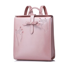 Women PU Leather Backpack Bow Female Elegant Daily Box Shoulder Bags Ladies Daypack Girls Schoolbag Embroidery Travel Rucksack