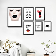 Modern Fashion women wall canvas poster prints Perfume Lipstick canvas wall painting pictures for Beauty shop home decor PD0412