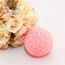 FREE SHIPPING 50PCS Pink/White 7CM Rose Ball Candle Wedding Bomboniere Favors Bridal Shower Party Event Decoration Supplies