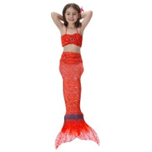 3-8 Years Rainbow Swimming Suit Set Kids Girls Mermaid Tail Cosplay Costume Bikini Swimwear For Children Beaching Suit (no fins)