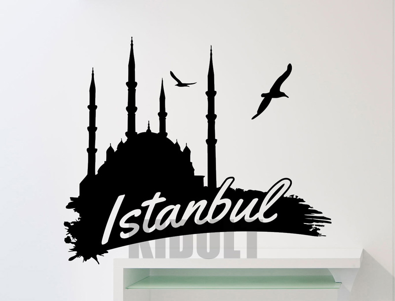 Creative Word Logo Istanbul Turkey Building Wall Decals Wall Stickers Vinyl Stickers Home Decor Living Room Wall Painting(China)