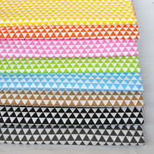 100% cotton twill cloth GRAY GREEN YELLOW PINK ORANGE CAMEL geometry tri angle fabric for DIY handwork tablecloth patchwork(China)