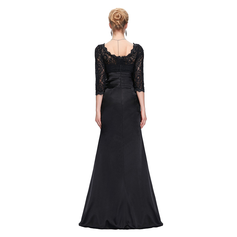 Grace Karin Lace Evening Dress 3/4 Sleeves O-neck Satin Pleated Black Special Occasion Dresses Robe De Soiree Longue 10