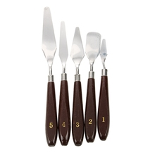 Practical Hot 5Pcs Stainless Steel Palette Oil Painting Knife Set Spatula, Wooden Handle(China)