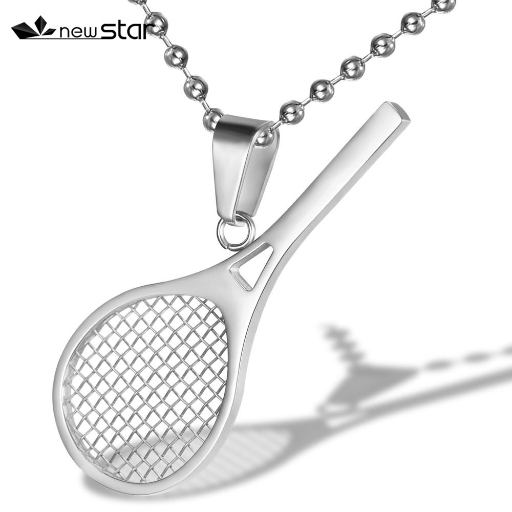Tennis Necklace Ball Racket Sport Charm Pendant Gift Jewelry for men or women