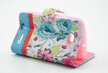Brand New For LG L70 Stylish flower PU Leather purse case,for LG L70 leather stand cover with card slots,free ship