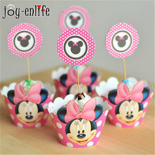JOY-ENLIFE 24pcs Minnie Mouse Cupcake Wrappers Cupcake Toppers Baby Shower Kids Birthday Party Wedding Party Decoration Supplies