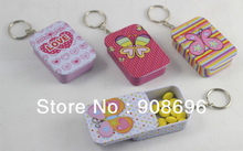 12pcs Fashionable Rectangle Shaped Iron Tin Storage Box Trinket Candy Jewelry Box  Pill Box with Key Chain -Free Shipping