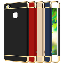 Case For Huawei P 9 P9 Lite 360 Degree Protection Phone Bag Case PC Luxury 3 in 1 Gold Brand Matte Hard Cover For Huawei P9 Lite(China)