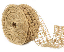 Laribbons Wired Burlap Ribbon Open Weave Jute Burlap Net 1-1/2 inch by 10 Yards(China)
