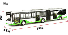Alloy Diecast 29cm City Bus Model 2 Carriages Extend Version Vehicle Model Available Open Door Pull Back Racer Toys Hobby(China)