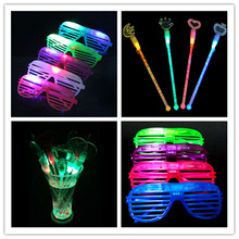 Led Wedding Dress Gafas Led 25pcs/lot Party Glasses + Flashing Wine Sticks New Fashion Light Up Toys Flash Glowing Classical