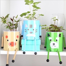 1pc Cute DIY Armored Pet Mini Bonsai Tin Iron Plants Flower Pot With Seeds Lovely Indoor Home Office Desktop Decoration