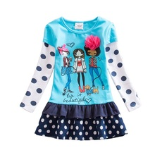 Retail Children Dresses Baby Girl Cartoon Children Blue Lace Dot Princess Dresses Vestidos Child Clothing Wear H6495(China)