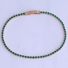 Love Monologue Exquisite Green Imitation Emerald Yellow Gold Color Bracelets for Women Chain Length 18CM Free Gift Bag X0525