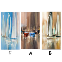100% Handmade Oil Paintings Sailling Boat Art Still Paintings Canvas Unframed Work For Home Decor 3 Colors(China)