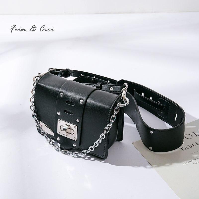 chains flap bag women luxury brand punk fashion leather messenger bags black crossbody handbag beige wine red 2018 new arrivals<br>