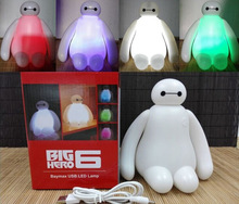 New rechargeable 1 Piece High Quality 16cm Big Hero 6 Baymax USB LED Night Light Creative RGB changeable baby bedroom Table Lamp(China)