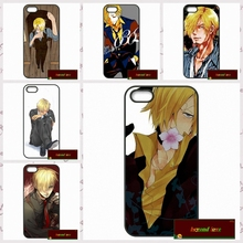 Caricature Sanji One Piece Coque Phone Cases Cover For iPhone 4 4S 5 5S 5C SE 6 6S 7 Plus 4.7 5.5 AM0912(China)