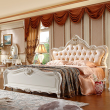 Luxury French Style 1.8m Princess leather Bed high quingity french wood antique bed