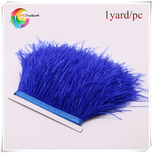 hot sale real ostrich feather fringe trims dyed blue 1yard natural ostrich feather trimming for skirt feathers costume dress