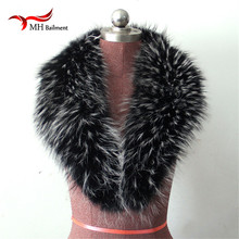 Large True 100% Raccoon Fur Collar Real Genuine Collar Fur Scarf Shawl Wrap Great L#22