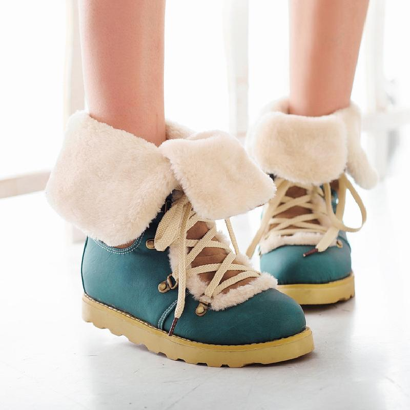 winter boots women ankle boots for women snow boots female low heel front lace up australian fashion shoes woman hot sale &amp;C80<br>