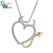Buy 2018 Gold Silver Plated Love Heart Accent Devil Heart Pendant Necklaces Jewelry Women Summer Decoration Box Chains for $1.30 in AliExpress store