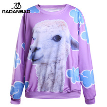 NADANBAO New Arrival Women Sweatshirt Little Lamb Printed Hooded Sweatshirt moletom  Suit Hoodie Outside Woman Sudaderas