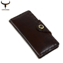 COWATHER 2017 New fashion cow genuine leather mens wallets for men,long style design wallet carteira masculina free shipping