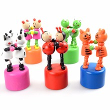 1Pcs Baby Wooden Puppet Toy Funny Wooden Toys Developmental Dancing Standing Rocking Animals Toys Random styles