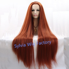 natural look premium auburn wigs long silky straight wig lace front wig heat resistant Synthetic Hair in stock