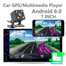 7 Inch 2 Din Android 6.0 Bluetooth Auto Car Radio Stereo Audio Player Digital Touch Screen GPS Navigation AM FM RDS with Camera(China)
