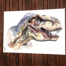 Акварель динозавра Юрского периода Временные татуировки Наклейки тираннозавр рекс живопись Водонепроницаемый татуировки для Для женщин Д...(China)